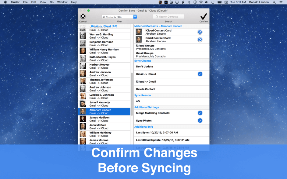 Confirm changes before syncing